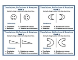 Translations Reflections Rotations Geometry Task Cards  (F