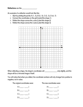Translations, Reflections, Rotations - Review Booklet