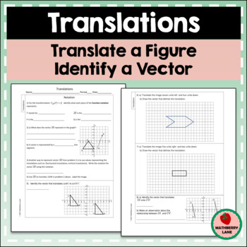 Translations Worksheet Vectors Coordinate Plane Function Notation