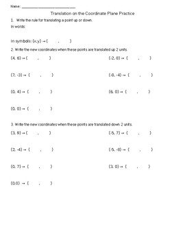 Translations in Coordinate Plane