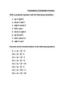 Translations of Quadratics Worksheet