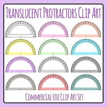 Translucent Protractors / Transparent Protractors in Various Colors Clip Art
