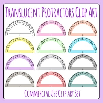 Translucent Protractors / Transparent Protractors in Various Colors Clip Art