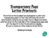 Transparency Alphabet Printout
