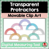 Transparent Protractor Movable Clipart for Measuring Angles Digital Math Tools