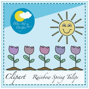Rainbow Tulips - Clip Art - For TpT Sellers