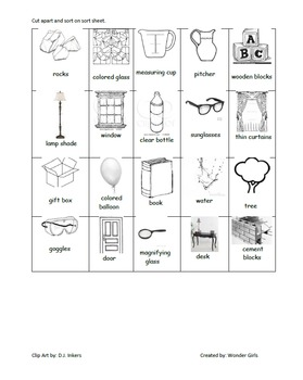 Transparent, Translucent, Opaque Activity Sheets