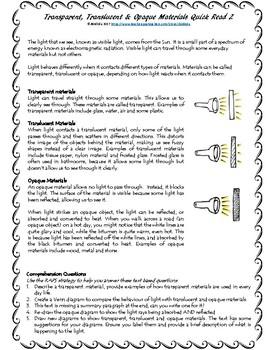 Transparent, Translucent and Opaque Materials Quick Read