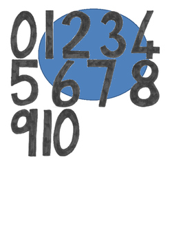 Transparent numbers 0 to 10
