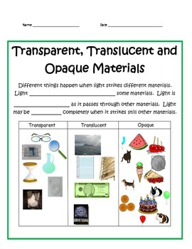 Transparent,Translucent,Opaque STUDY GUIDE - 4th Grade Science