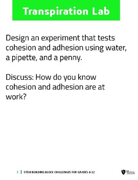 Transpiration, Cohesion and Adhesion Investigation Labs