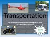 Transporation - Classifying-Vocab Cards