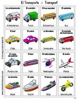 Transport - El transporte - Bingo Bilingüe - Bilingual bingo