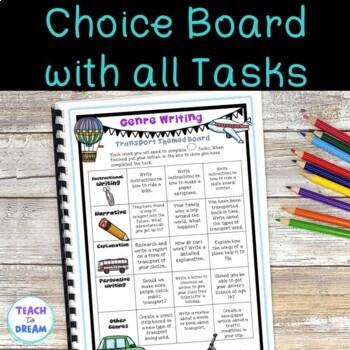 Transport Genre Choice Board with Worksheet Templates and Assessments