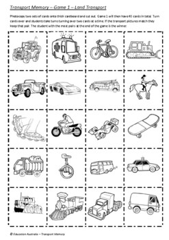 Transport Memory Games - 3 Games - Land, Sea & Air - Differentiated