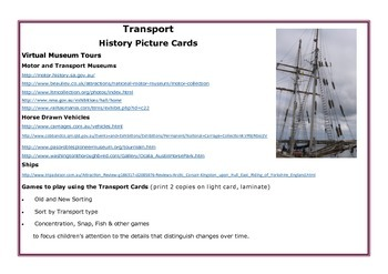 History: Transport Then and Now: History Picture Cards