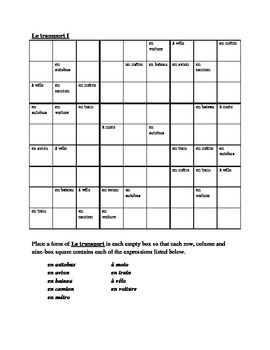 Transport (Transportation in French) Sudoku