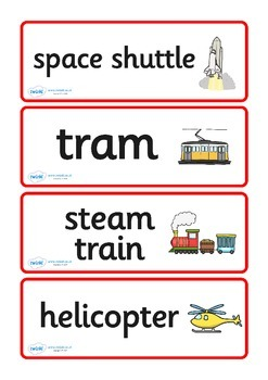 Transport Word Cards