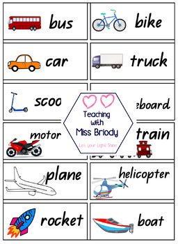 Transport Word Wall Cards