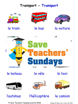 Transport in French Worksheets, Games, Activities and Flas