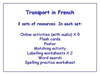 Transport in French Worksheets, Games & More (with audio) Bundle