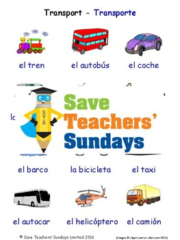 Transport in Spanish Worksheets, Games, Activities and Flash Cards (with audio)