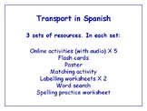 Transport in Spanish Worksheets, Games & More (with audio) Bundle
