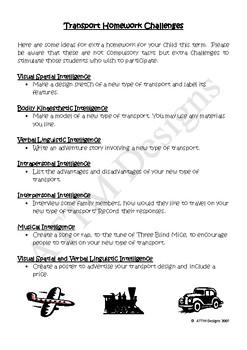 Transport themed homework challenges