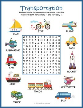 transportation word search puzzle by puzzles to print tpt. Black Bedroom Furniture Sets. Home Design Ideas