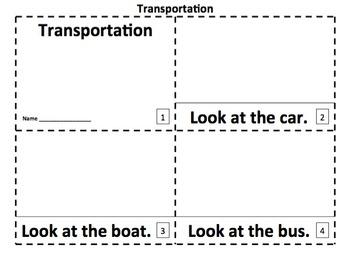 Transportation 2 Emergent Reader Booklets