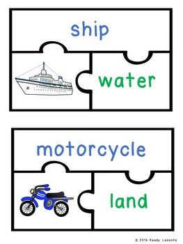 Modes of Transportation Sort Activity Puzzles - Land Air and Water