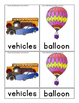 Transportation 3 Part cards in English Only