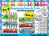 Transportation- Beginning Sounds Center Activity- Differentiated-Color & BW