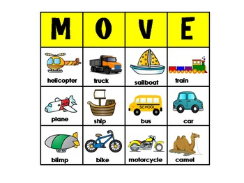 Transportation Bingo Game