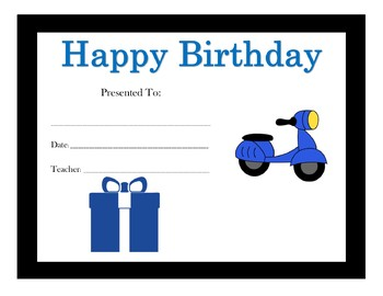 Transportation Birthday Certificates (Including 17 Certificates)
