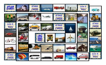 Transportation and Vehicles Legal Size Photo Board Game