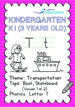 Transportation - Boat, Skateboard (I): Letter T - K1 (3 years old)