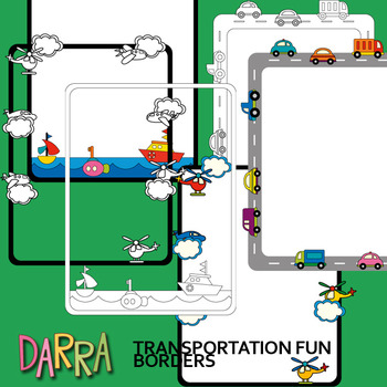 Transportation Borders Clip Art / seller toolkit resource / commercial use