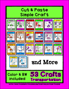 53 Transportation Sets - Cut & Paste Crafts  Super Easy for Pre-K & Kindergarten