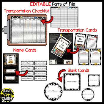 How we go home ~ Transportation Bundle (Editable) ~ Black and White Polka Dot