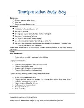 Transportation Busy Bag