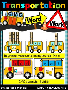 Transportation- CVC WORD WORK- Missing Sounds Pin it+Build