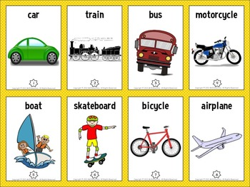 Transportation Vocabulary Trading Cards