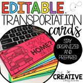 Transportation Cards {EDITABLE}