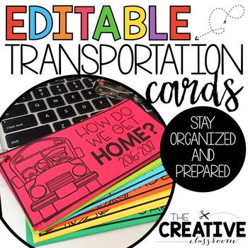 Transportation Cards {EDITABLE}