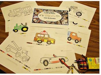 Color by Number Transportation,Fine Motor Skills, Kindergarten,Special Education