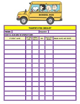 Transportation Checklist with Peanuts Gang