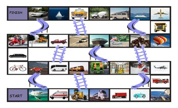 Transportation and Vehicles Legal Size Photo Chutes and Ladders Game