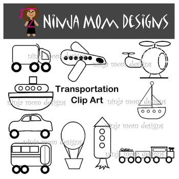 Transportation Clip Art in Color and Black Line