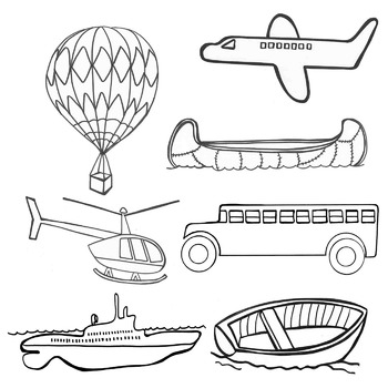 Transportation Realistic Clip Art Train Boat Canoe Helicopter Bus Sub Truck